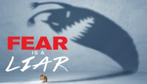 """Small banner image for the sermon series named """"Fear is a Liar"""" by Crossroads Church"""