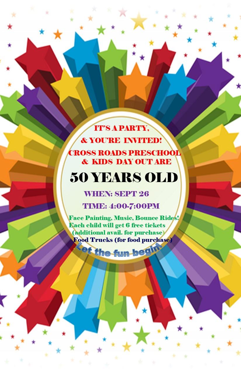 Cross Roads Preschool 50th Birthday Party Invite