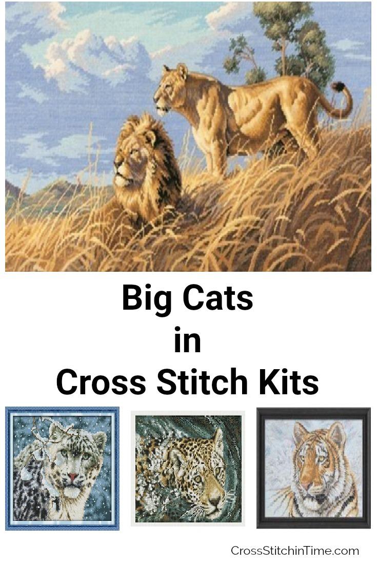 Lions, Tigers, Jaguars & Snow Leopards Cross Stitch