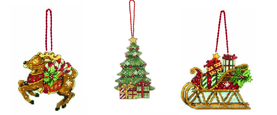 Cross Stitch Christmas Single Ornament Kits