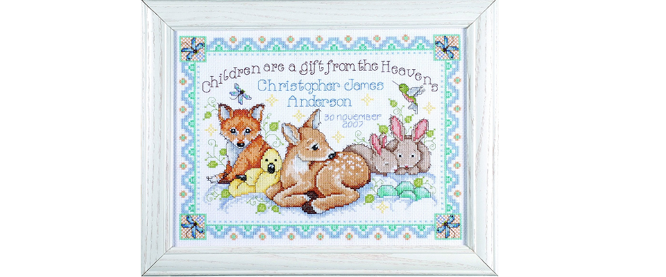 Cross Stitch Birth Record Kits Make Beautiful Baby Gifts