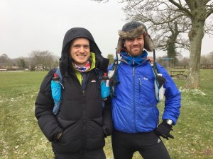 Keeping warm at the start of the Hardmoors 55
