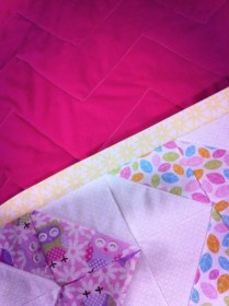 Owl Pink & Yellow Baby Quilt