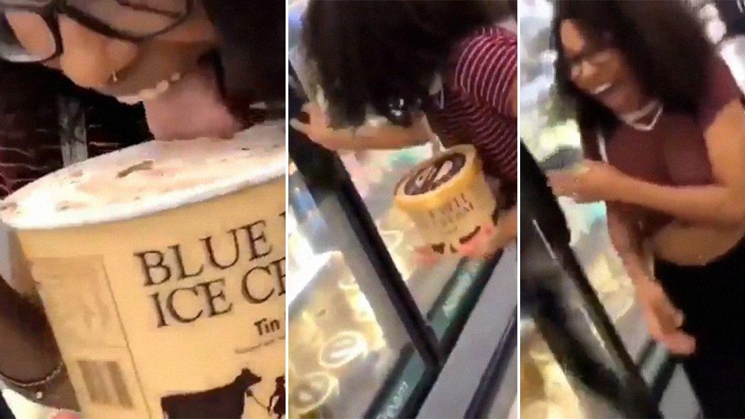 Officers guard freezer to prevent others from licking ice cream containers