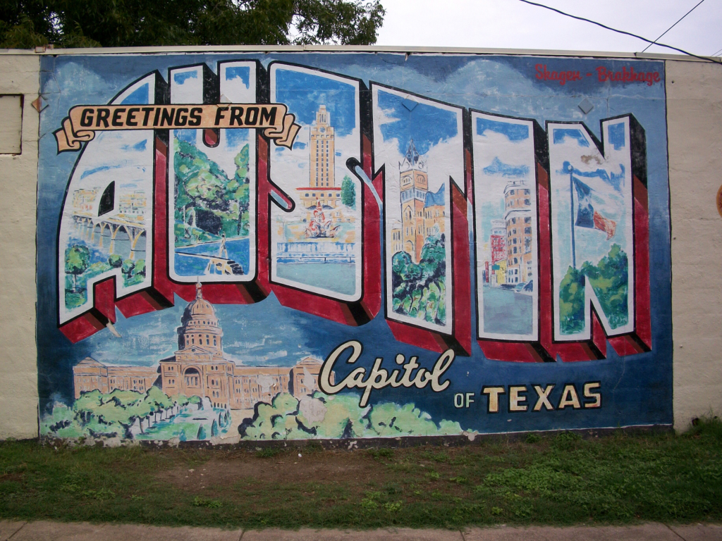 Image of the famous Greeting from Austin mural. Image is found on the Crosswind Media and Public Relations contact us page