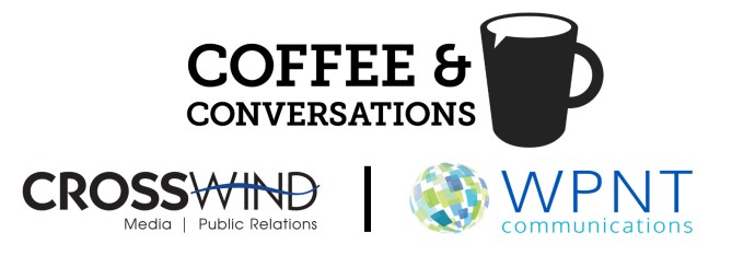Logo for Coffee and Conversations hosted by Crosswind Media and Public Relations and WPNT Communications at OTC.