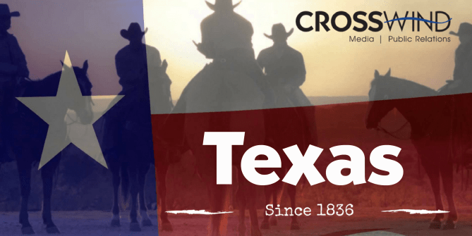 Graphic of transparent Texas Flag with cowboys on horses at sunset in the background. Text Texas Since 1836 and Crosswind Logo to represent Texas Independence Day