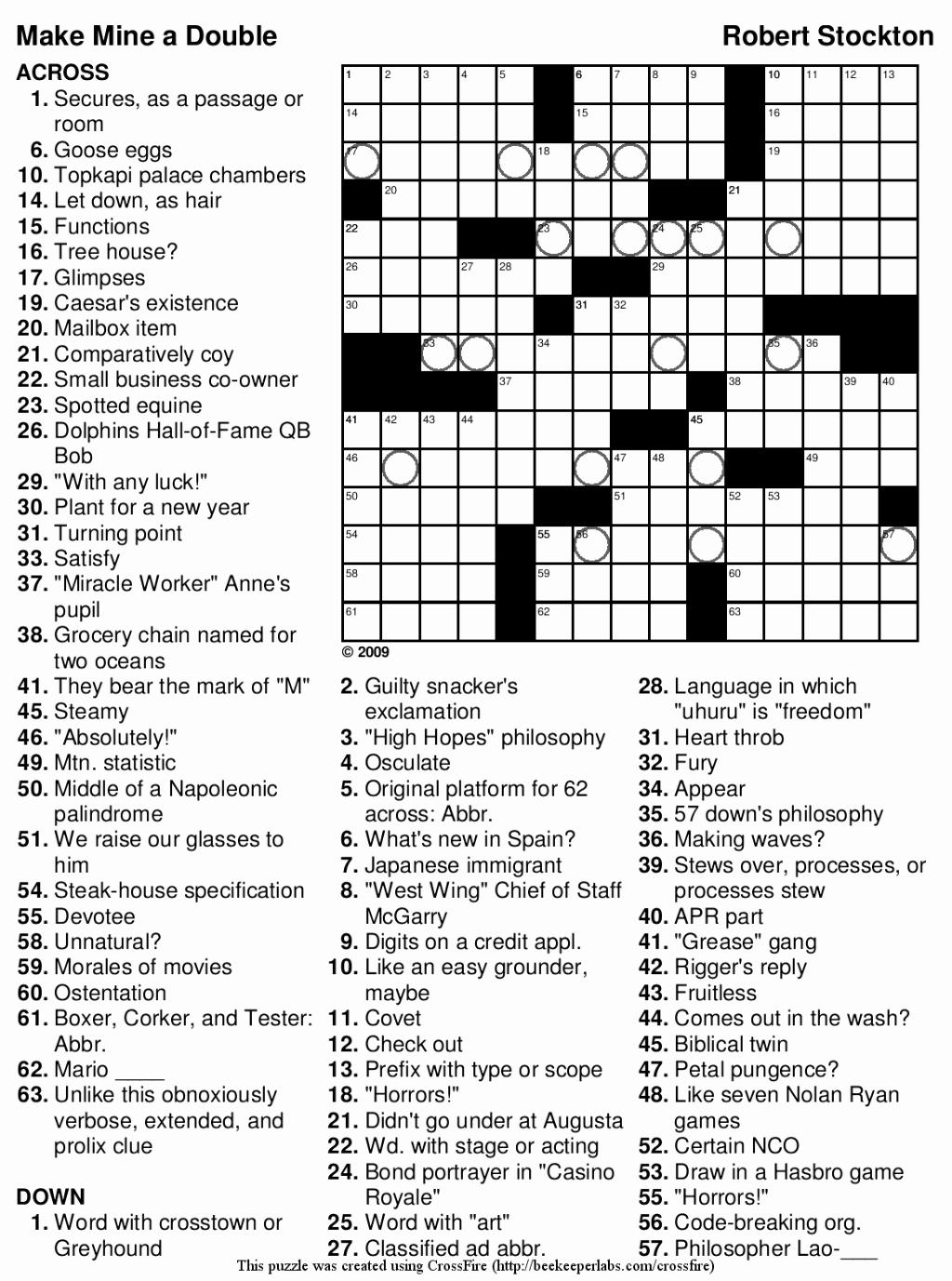 Crossword Puzzles Printable 7th Grade