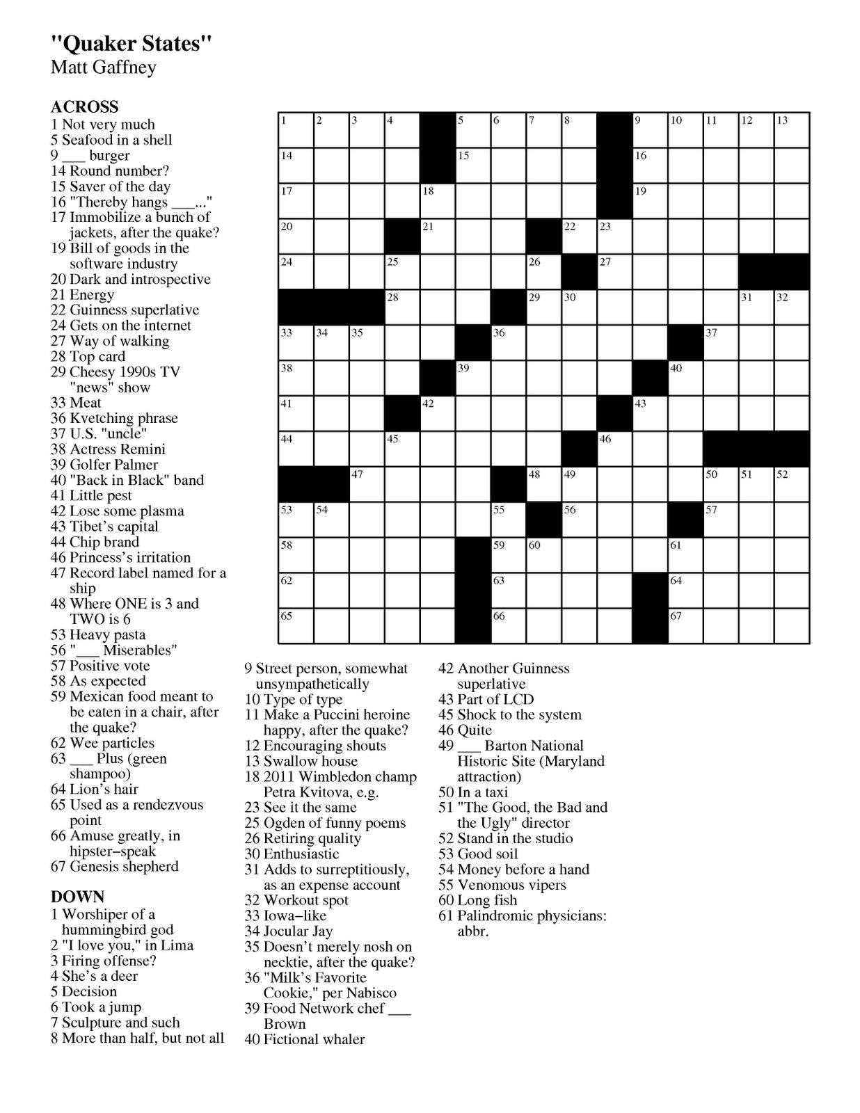 Free Printable Crossword Puzzle 1
