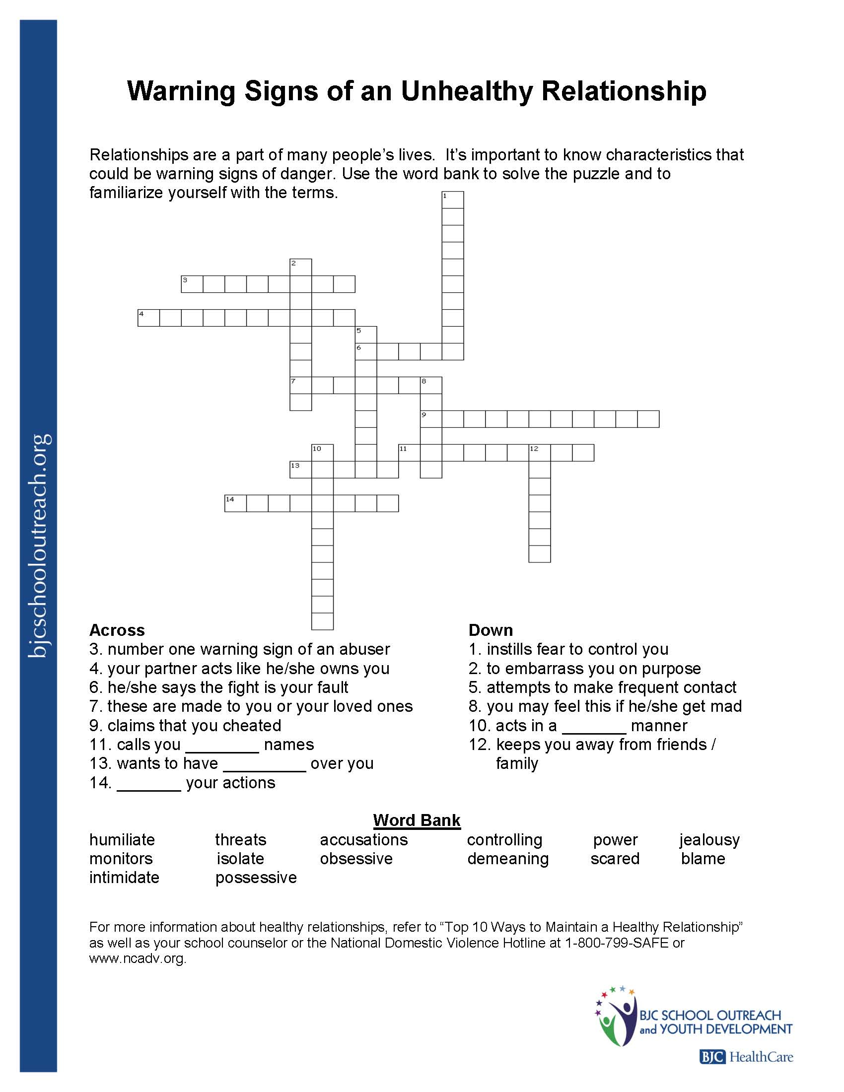 Printable Youth Crossword Puzzles