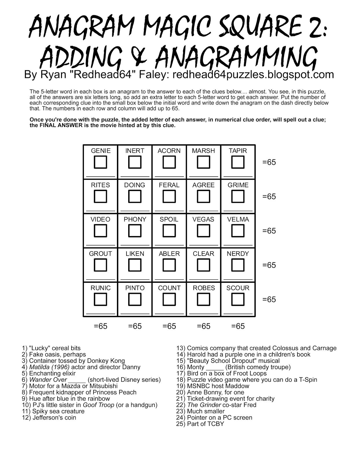 Printable Anagram Puzzles