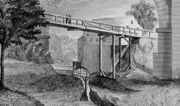 Detail of the wooden bridge that originally carried local traffic under the arch. F.B. Tower, Illustrations of the Croton Aqueduct, New York: Wiley and Putnam, 1843.