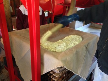Next, the mash is sprayed into a filter blanket, laid into a frame.