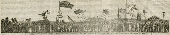 The 16-inch long woodcut of the parade was engraved in three sections and bolted together.