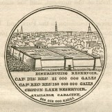 The design of one side of a commemorative medal made for the occasion. This image is taken from A Memoir of the Construction, Cost, and Capacity of the Croton Aqueduct ... by Charles King, New York: Printed by Charles King, 1843.