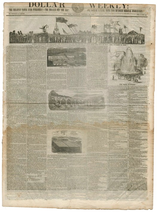 The front page of the Dollar Weekly, October 22, 1842, featuring a rare wood engraving of the parade and other Croton Aqueduct-related images.