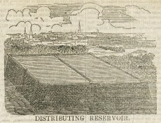 Wood engraving of the Distributing Reservoir (today the location of the main branch of the New York Public Library and Bryant Park) from the Dollar Weekly.
