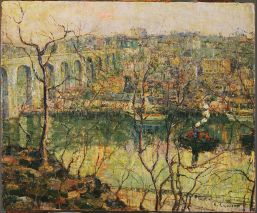 High Bridge, Early Moon by Ernest Lawson, circa 1910. The Phillips Collection.