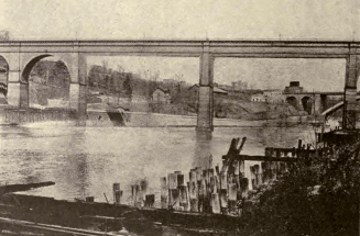 """The """"economical, but ugly"""" plan for replacing the piers in the Harlem River. The American Architect, January 21, 1921."""