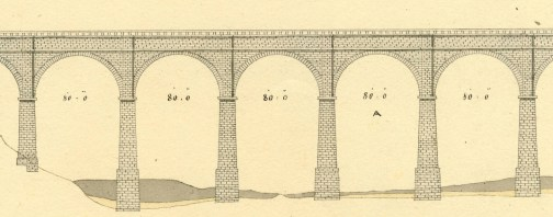 Detail from John B. Jervis' plan of High Bridge, circa 1844. Jervis Library.