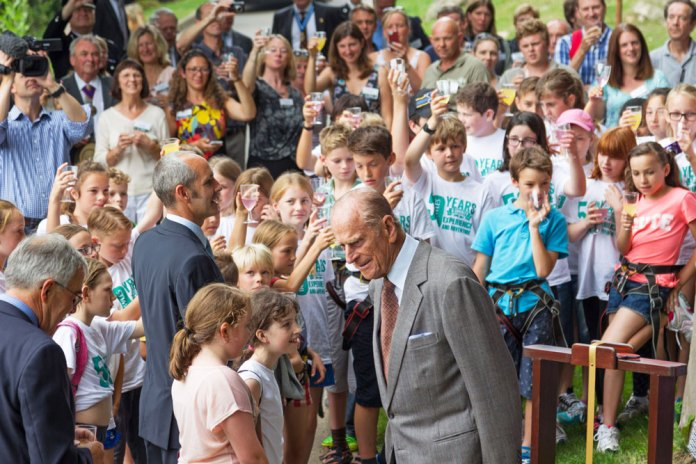Prince Philip visiting Bowles Outdoor Centre