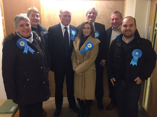 Philip Lunn with his supporters at the count last night