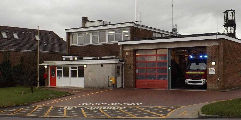 Crowborough Fire Station Beacon Road in Crowborough appliance blue lights