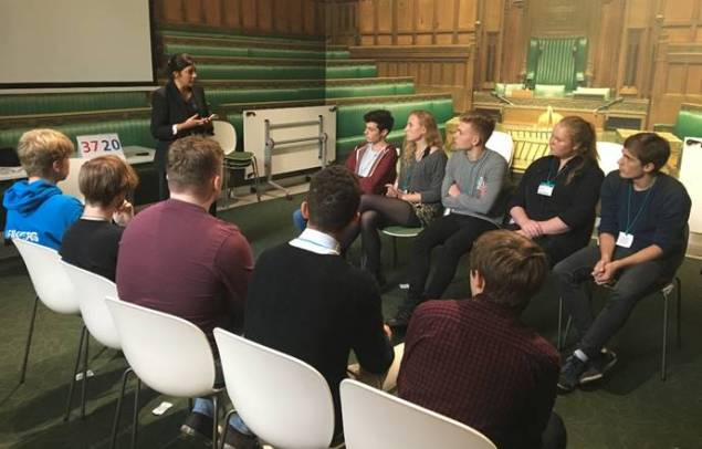 Nus Ghani MP speaking to Year 12 students from Beacon Academy.