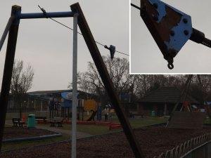 Broken zip wire Goldsmiths Recreation Ground in Crowborough