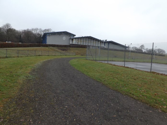 Running track and netball court at Goldsmiths Rec in Crowborough (December 2016)