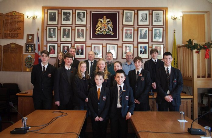 Students from Beacon Academy's Council and Crowborough Town Council.