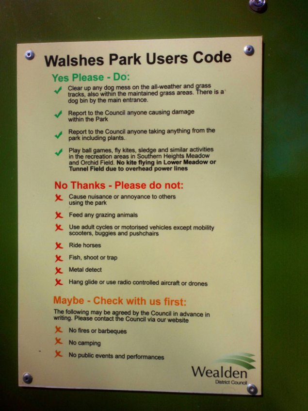 Walshes Park in Crowborough: User Code