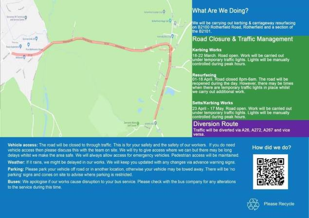 Overnight road closures to the B2100 Rotherfield Road from 1st and 18th April 2019