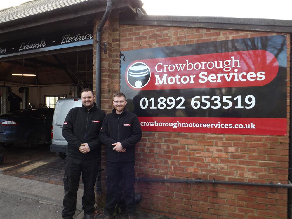 Stuart Daly and Jed Stevenson Crowborough Motor Services Herne Road garage Crowborough TN6 2NU