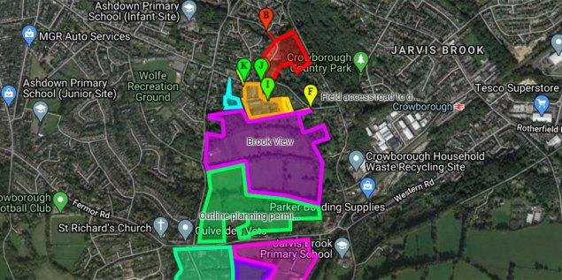 Google Map showing major planning developments in Crowborough