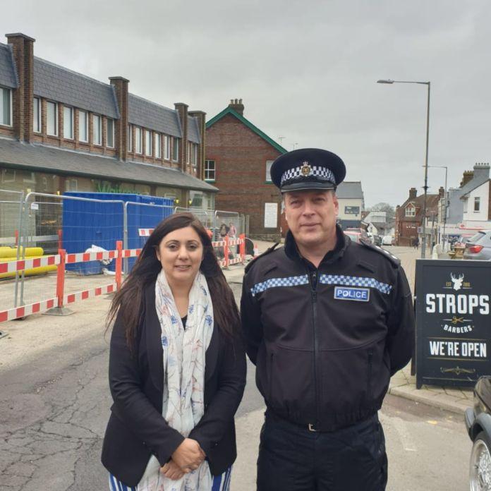 Wealden MP Nus Ghana with DCI Alasdair Henry, police commander for Wealden.  Photographed on Croft Road in Crowborough.