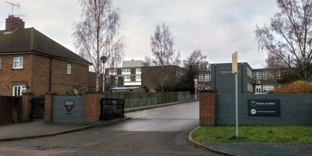 Beacon Academy main gate North Beeches Road in Crowborough