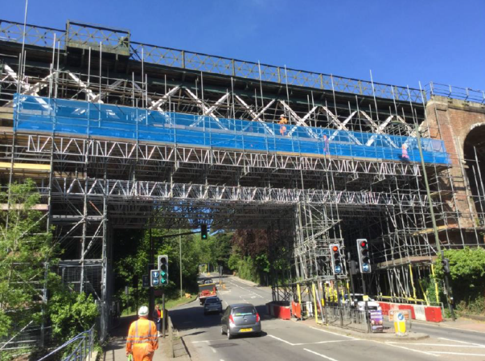 Oxted Viaduct covered in scaffolding