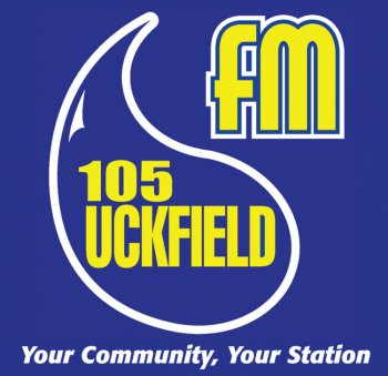 "Uckfield 105 FM logo - slogan ""Your Community, Your Station"""