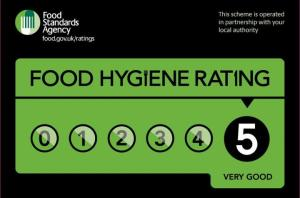 Sign - Food Hygiene Rating of 5 Very Good