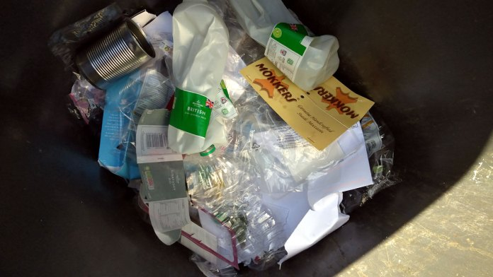 Photo showing contents of recycling wheelie bin