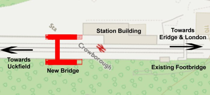 Map showing the location of new bridge and lifts at Crowborough Railway Station.