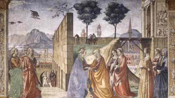 Opera Santa Maria Novella – Cappella-Tornabuoni-Domenico-Ghirlandaio-09-Visita-di-Maria-a-S.-Elisabetta
