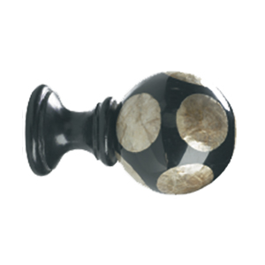 Crowder Design Natural Elements Finial Collection   Smoked Capiz Circles on Black Ball