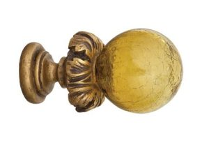 Crowder Designs Hand Blown Glass Finial Collection | Light Amber Crackle Bass