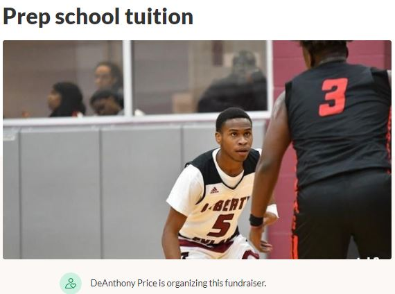 Prep School Tuition DeAnthony Price GoFundMe Campaign