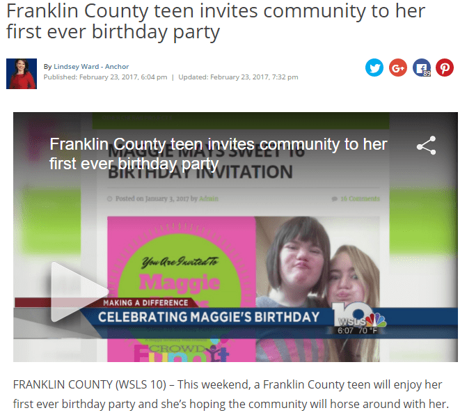 teen invites community to her first ever birthday party