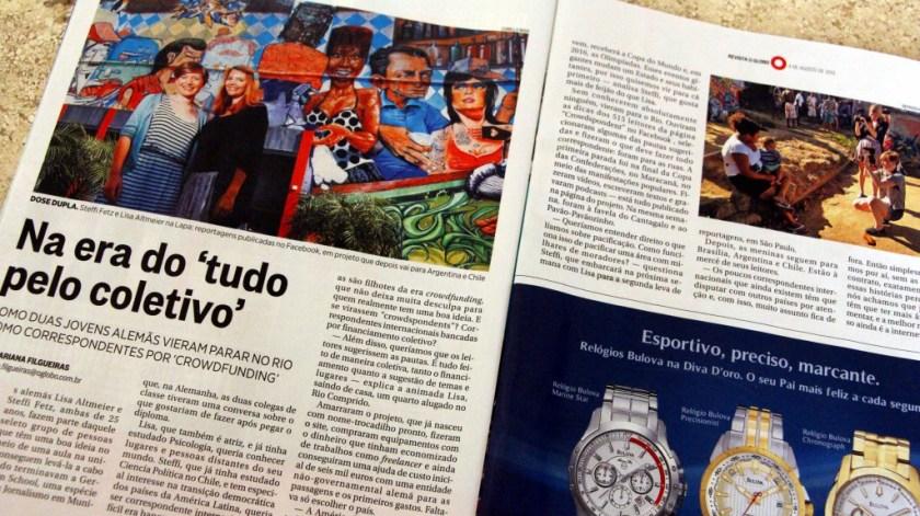 """Artikel über uns im brasilianischen Magazin """"Journal O Globo"""""""