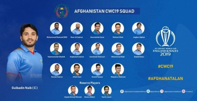 Afghanistan cricket squad for world cup