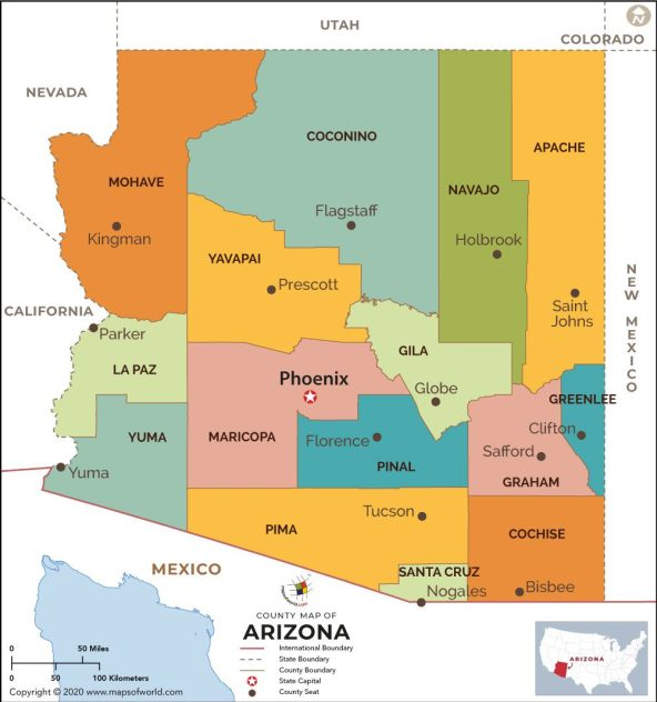arizona county map